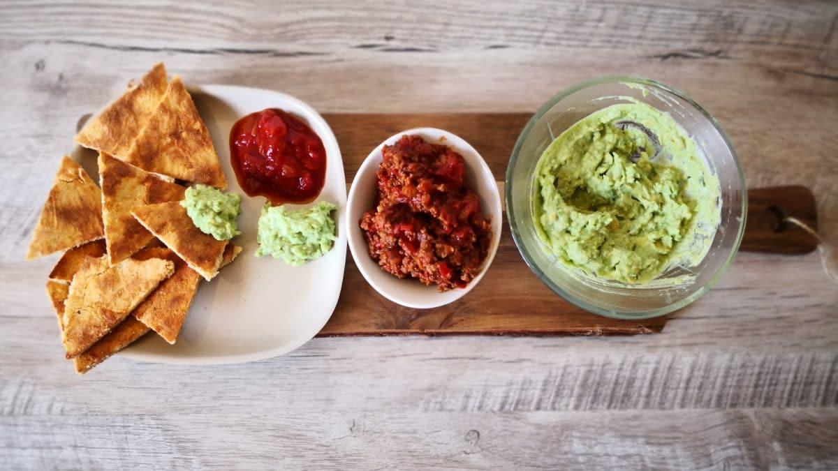 Fathead nachos med oksekød og valgfri salat
