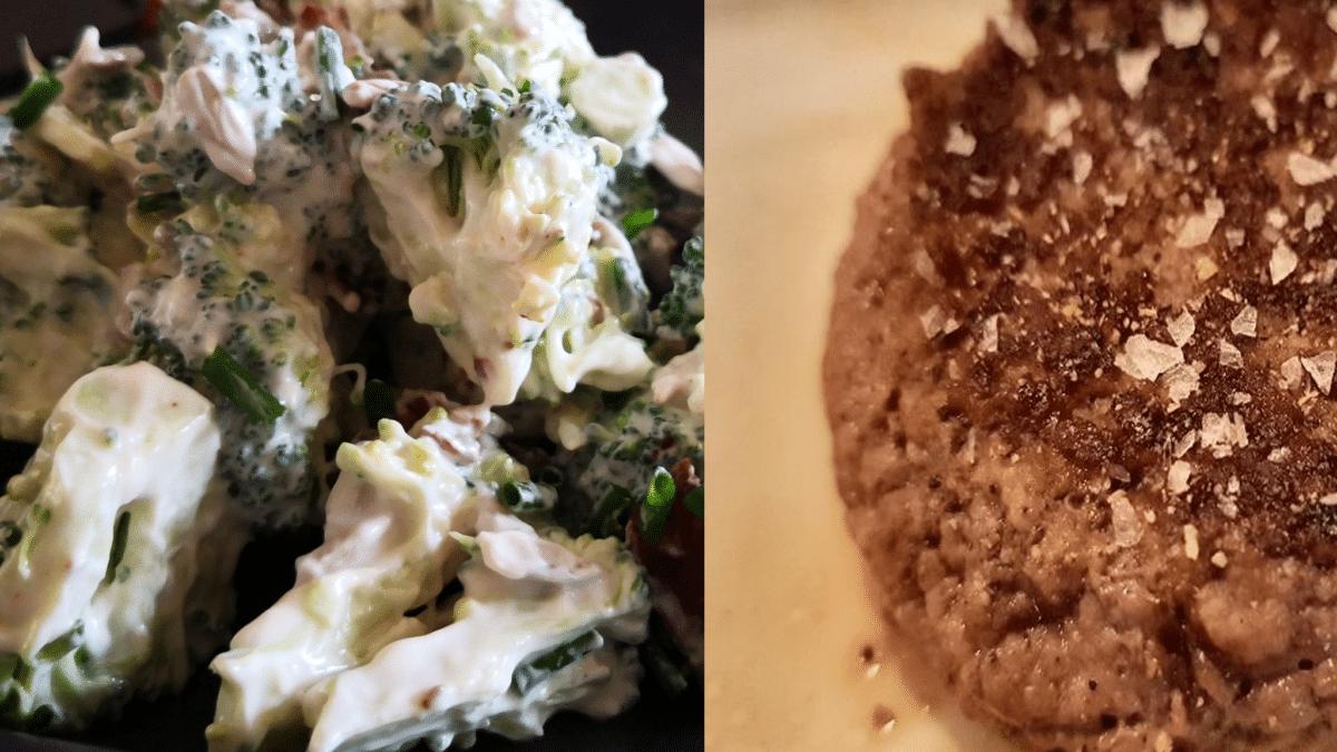 Broccolisalat med en hakkebøf med bacon