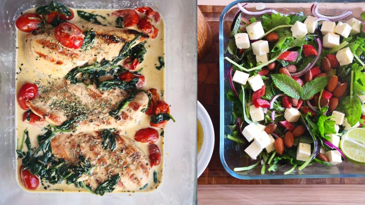 Rabarbersalat med mandler og feta samt cremet kylling