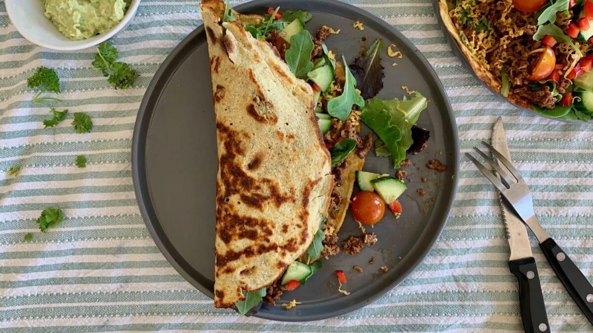 Tynde Keto pandekager med mexikansk fyld