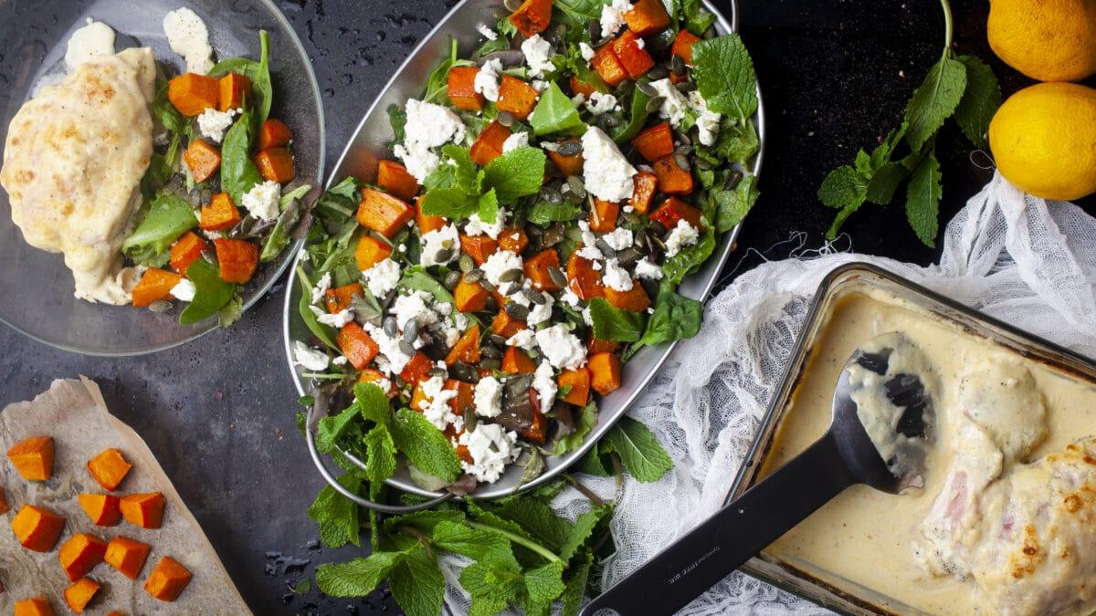 Cordon bleu med en velsmagende og sprød græskar salat