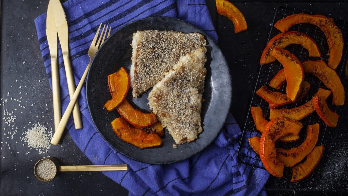 Paneret torsk med hokkaidofritter
