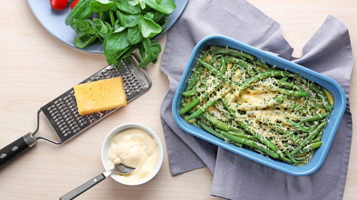 Bagte grønne bønner med parmesan