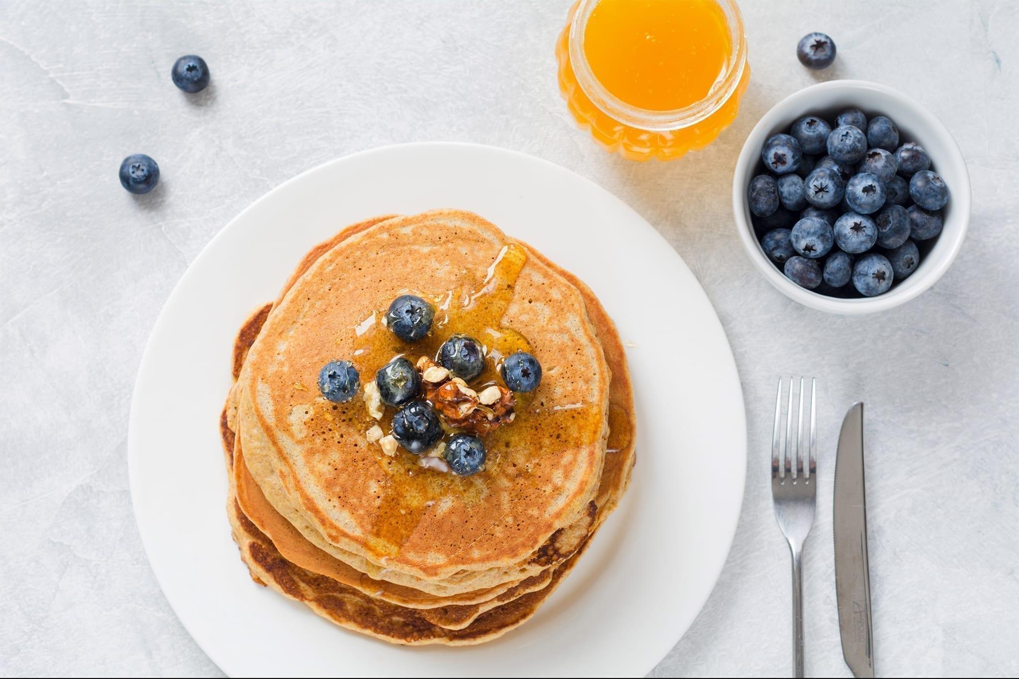 Proteinpandekager med blåbær (morgenmad eller dessert)