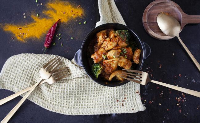chicken masala and broccoli