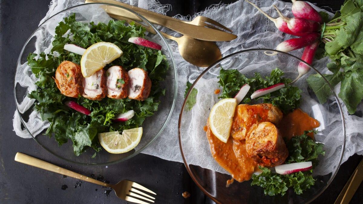 Mozzarella-kylling med simpel kålsalat