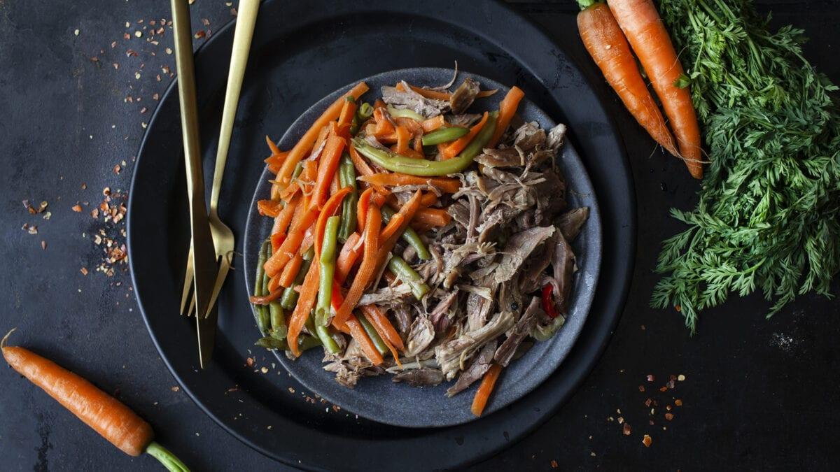 Stimlet and og lynstegte grøntsager