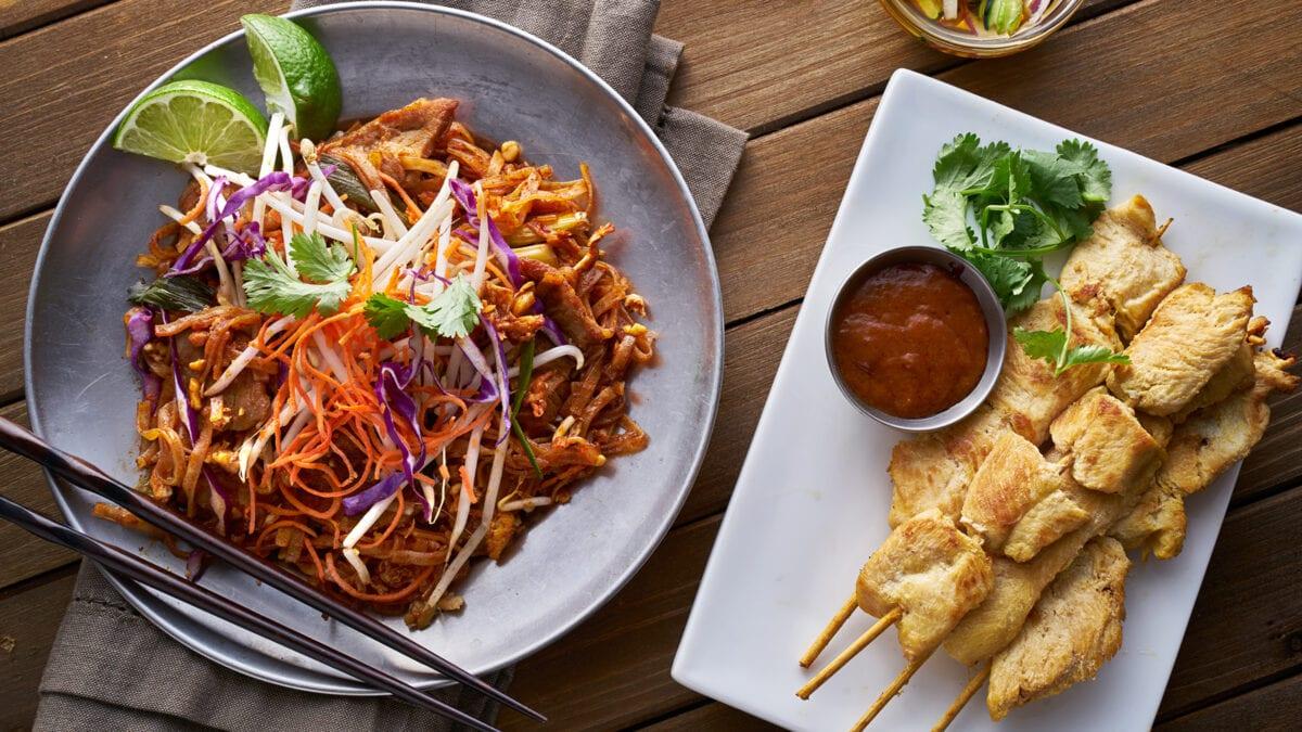 Pad thai Keto aftensmad med kyllingespyd