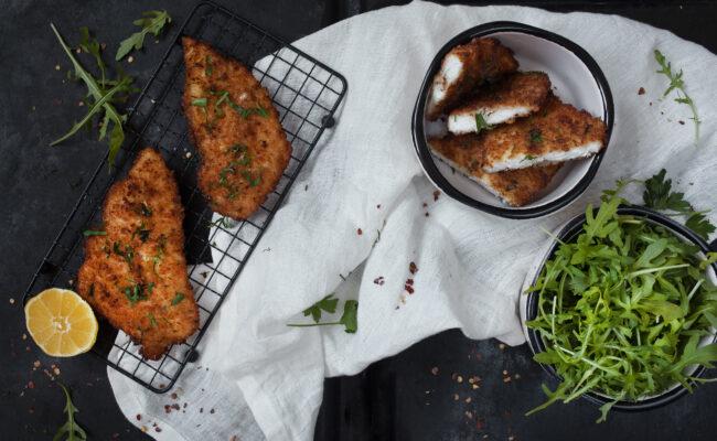 ketoliv Paneret fisk med citron, salat og oliven tamponade overview